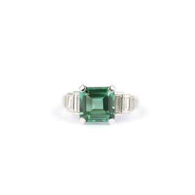 Green Tourmaline and Diamonds