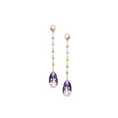 White Topaz and Lilac Amethysts